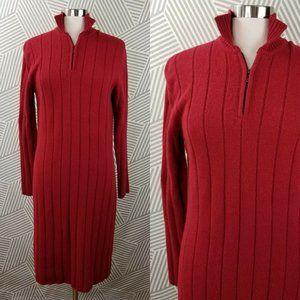 Eddie Bauer Sweater Dress Size Large Tall Rib Knit